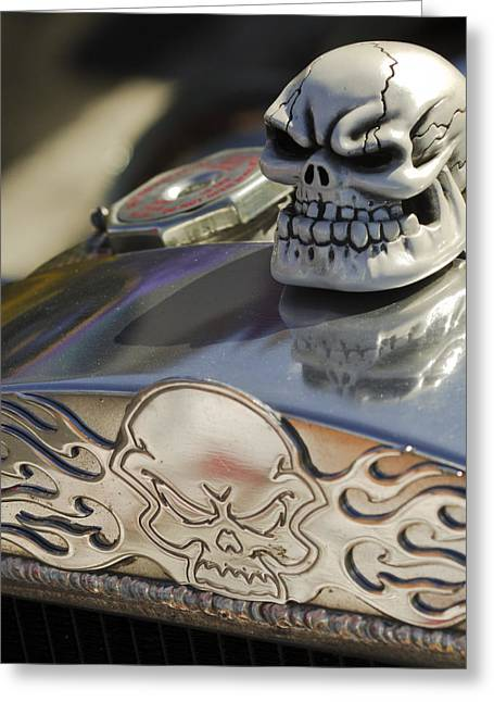 1923 Greeting Cards - 1923 T-Bucket Skull Hood Ornament Greeting Card by Jill Reger