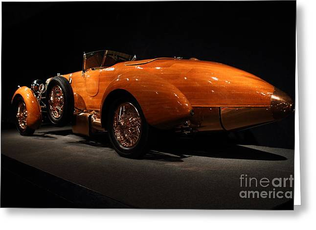 Hispano Suiza Dubonnet Tulipwood Greeting Cards - 1924 Hispano Suiza Dubonnet Tulipwood . Rear Angle Greeting Card by Wingsdomain Art and Photography