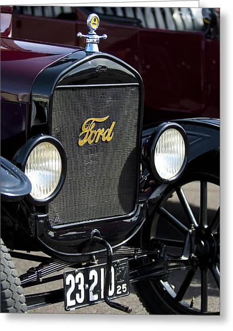 Ford Model T Car Greeting Cards - 1925 Ford Model T Coupe Grille Greeting Card by Jill Reger