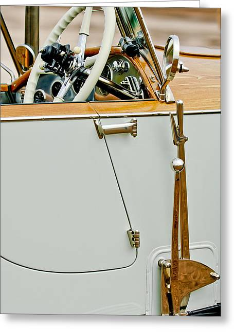 Barker Greeting Cards - 1925 Rolls-Royce Phantom I Barker Sports Torpedo Tourer Steering Wheel Greeting Card by Jill Reger