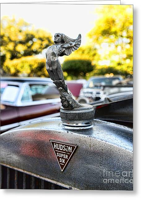 Unrestored Greeting Cards - 1928 Hudson Super Six Roadster Hood Ornament Greeting Card by Paul Ward