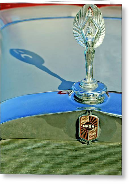 Car Mascot Greeting Cards - 1928 Nash Coupe Hood Ornament 3 Greeting Card by Jill Reger