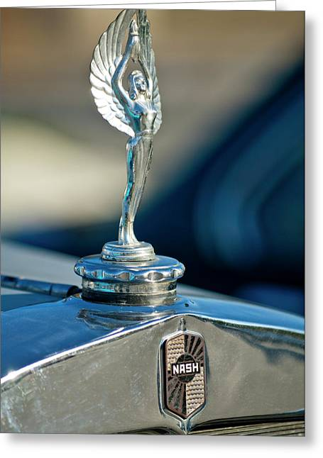 Car Mascots Greeting Cards - 1928 Nash Coupe Hood Ornament Greeting Card by Jill Reger
