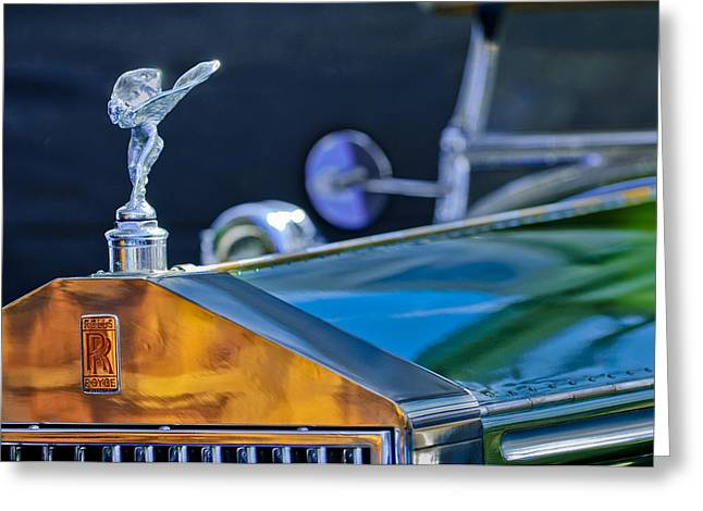 Collector Hood Ornament Greeting Cards - 1928 Rolls-Royce Phantom I Derby Speedster Hood Ornament Greeting Card by Jill Reger