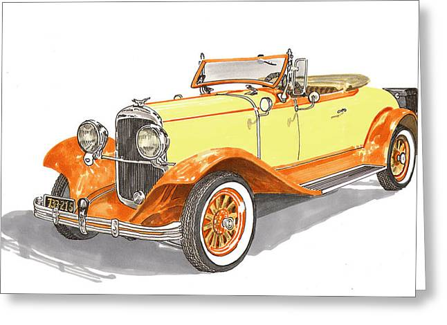Covered Bridge Paintings Greeting Cards - 1929 Chrysler 65 Roadster Greeting Card by Jack Pumphrey