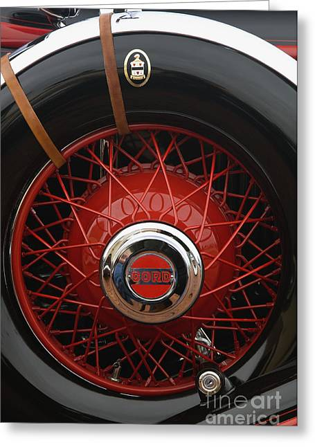 Leather Straps Greeting Cards - 1929 Cord L-29 Detail - D008158 Greeting Card by Daniel Dempster
