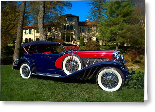 Touring Car Greeting Cards - 1929 Duesenberg Model J-129 LeBaron Dual Cowl Phaeton Greeting Card by Tim McCullough