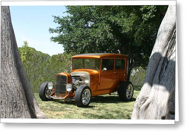 Model A Sedan Greeting Cards - 1929 Ford Butter Scorch Orange Greeting Card by Jack Pumphrey
