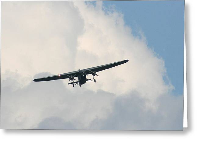 Ford Trimotor Greeting Cards - 1929 Ford Tri Motor Mail Plane Incoming Greeting Card by David Dunham