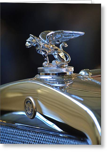 1929 Roadster Greeting Cards - 1929 Gardner Series 120 Eight-in-Line Roadster Hood Ornament 2 Greeting Card by Jill Reger
