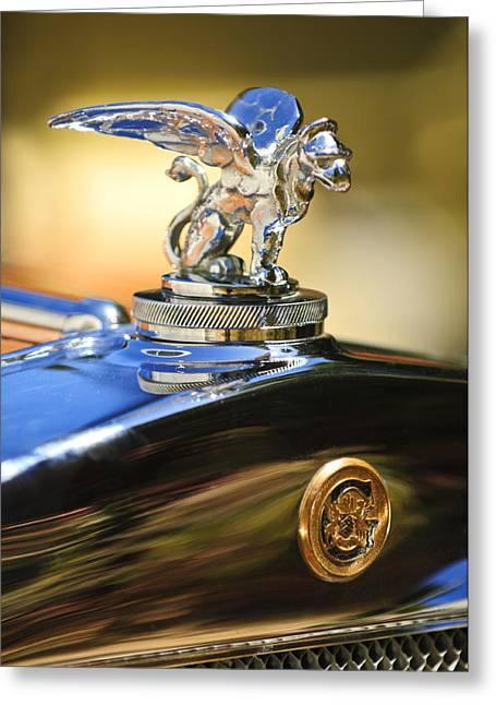 1929 Roadster Greeting Cards - 1929 Gardner Series 120 Eight-in-Line Roadster Hood Ornament Greeting Card by Jill Reger