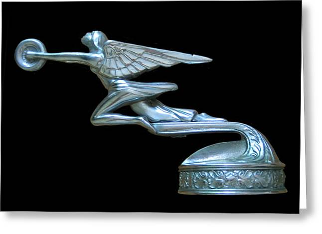 Car Mascot Digital Art Greeting Cards - 1929 Packard Goddess of Speed Greeting Card by Jack Pumphrey