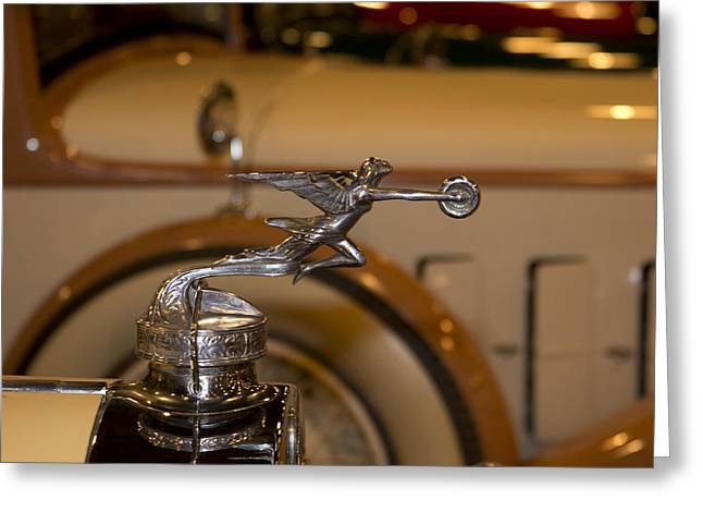 1929 Roadster Greeting Cards - 1929 Packard Roadster Hood Ornament Greeting Card by Douglas Barnard