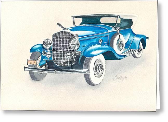 Caddy Paintings Greeting Cards - 1930 Cadillac Greeting Card by Frank SantAgata