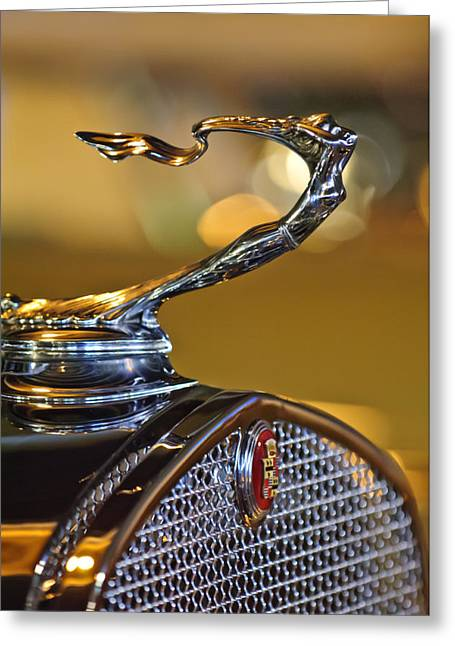 Car Mascot Greeting Cards - 1930 Cadillac Roadster Hood Ornament Greeting Card by Jill Reger