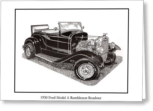 Crisp Drawings Greeting Cards - 1930 Ford Model A Roadster Greeting Card by Jack Pumphrey