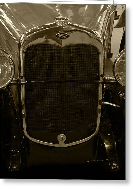 Roadster Grill Greeting Cards - 1930 Ford Model A Rumble Seat Roadster Grill Sepia Tone Greeting Card by Ken Smith