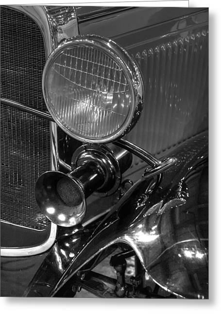 Rumble Greeting Cards - 1930 Ford Model A Rumble Seat Roadster Headlight and Horn Black and White Greeting Card by Ken Smith