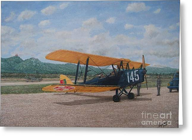 Military Airplanes Greeting Cards - 1930s Tiger Moth Aircraft - Aeronave Forca Aerea Portuguesa Greeting Card by Carlos De Vasconcelos Tavares