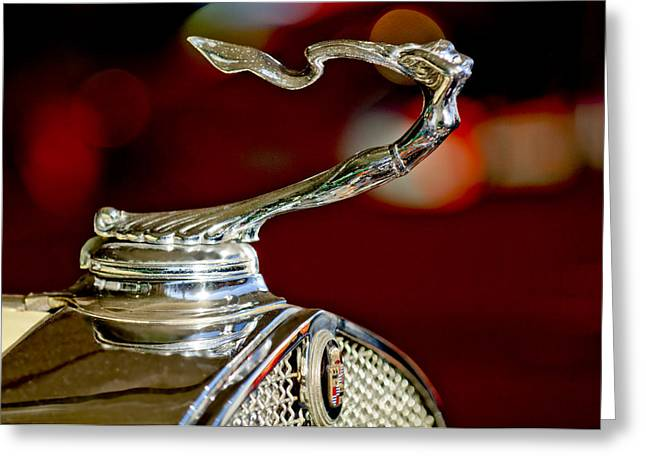Car Mascots Greeting Cards - 1931 Cadillac 355 A Roadster Hood Ornament Greeting Card by Jill Reger