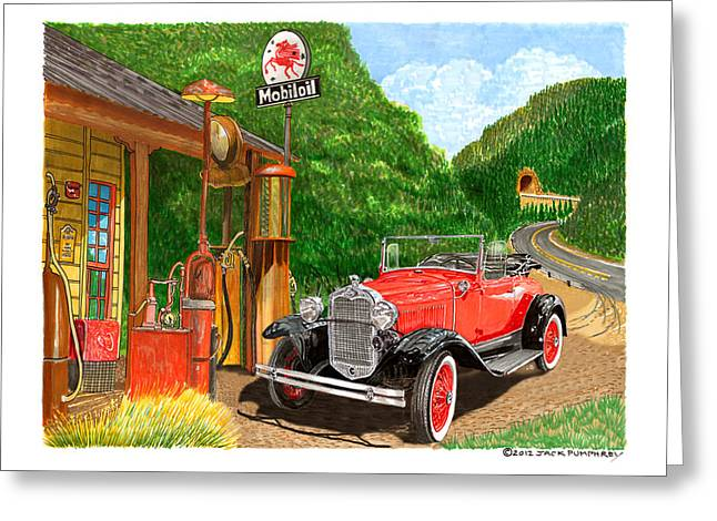 Replacing Paintings Greeting Cards - 1931 Ford Model A Roadster Greeting Card by Jack Pumphrey