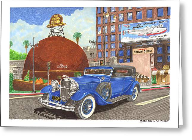 Classic Hollywood Paintings Greeting Cards - 1931 Lincoln K Dietrich Phaeton Greeting Card by Jack Pumphrey