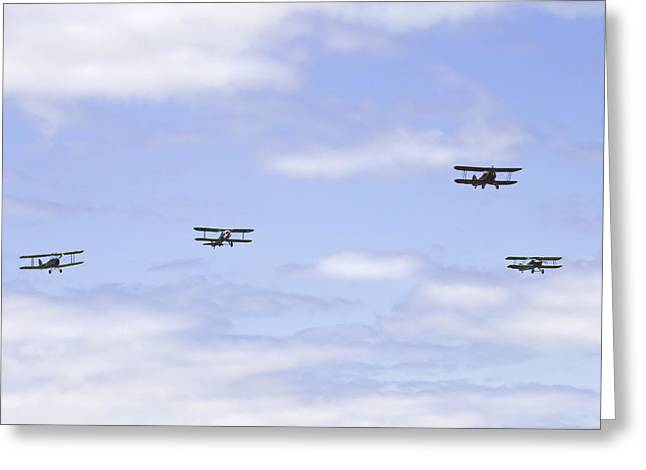 Airfield Greeting Cards - 1931 Waco UBF2 1917 SPAD XIIIcI1917 NIEUPORT 28C1 and De Havilland DH82A Tiger Moth Photo Print Greeting Card by Keith Webber Jr