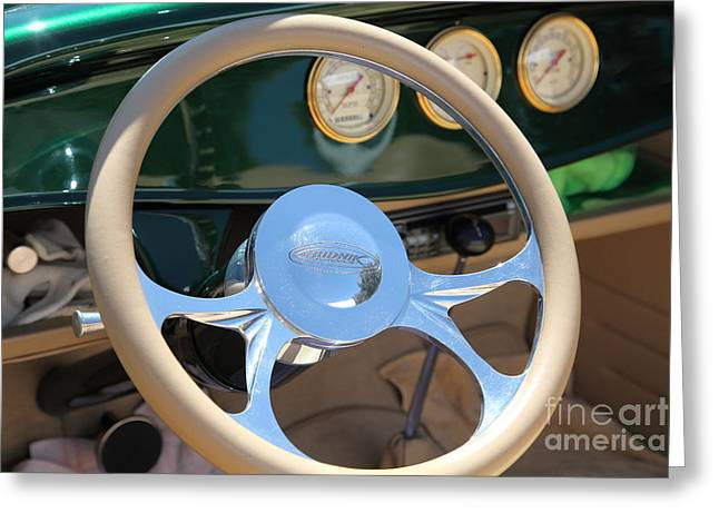 1932 Ford Greeting Cards - 1932 Ford Roadster Steering Wheel and Guages . 5D16176 Greeting Card by Wingsdomain Art and Photography