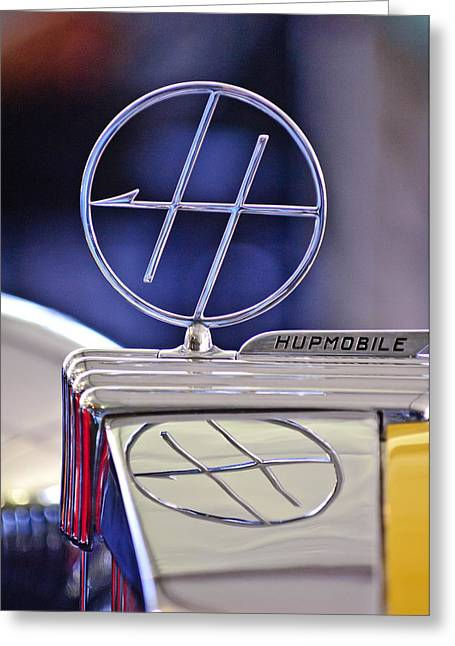 Custom Roadster Greeting Cards - 1932 Hupmobile Custom Roadster Hood Ornament Greeting Card by Jill Reger