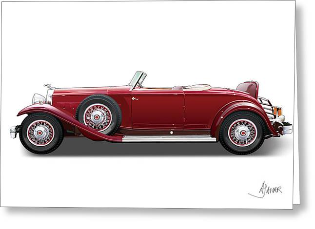 Automotive Illustration Greeting Cards - 1932 Packard On White Greeting Card by Alain Jamar