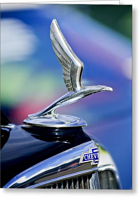 Masters Pictures Greeting Cards - 1933 Chevrolet Master Six Eagle Sedan Hood Ornament Greeting Card by Jill Reger