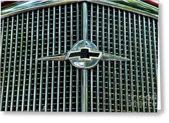 Bowtie Photographs Greeting Cards - 1934 Chevrolet Grill  Greeting Card by Paul Ward