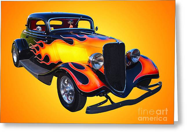 1934 Ford 3 Window Coupe Hotrod Greeting Card by Jim Carrell