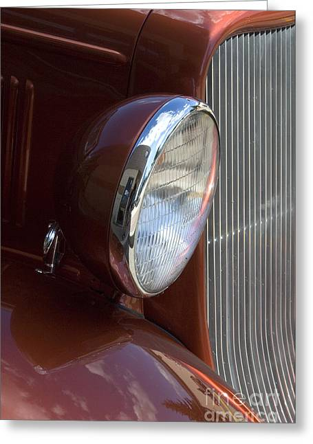 Truck Detail Greeting Cards - 1934 Ford Headlight and Grill Greeting Card by Bob Christopher