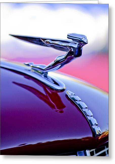 Car Mascot Greeting Cards - 1935 Auburn Hood Ornament 4 Greeting Card by Jill Reger