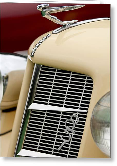 851 Greeting Cards - 1935 Auburn Model 851 Supercharged Speedster Hood Ornament Greeting Card by Jill Reger