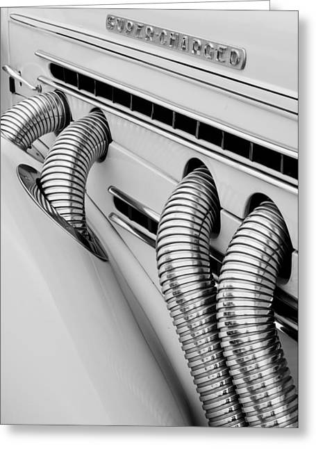 851 Greeting Cards - 1935 Auburn Model 851 Supercharged Speedster Side Pipes Greeting Card by Jill Reger