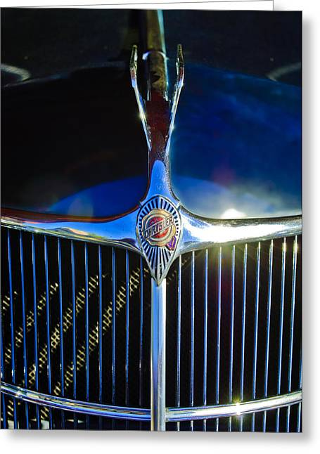 Collector Hood Ornament Greeting Cards - 1935 Chrysler Hood Ornament 2 Greeting Card by Jill Reger