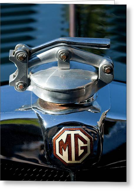 Car Mascot Greeting Cards - 1935 MG NA Magnette Hood Ornament Greeting Card by Jill Reger