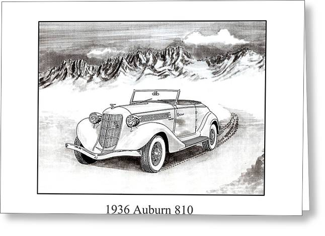 Pen And Ink Framed Prints Greeting Cards - 1936 Auburn 810 Greeting Card by Jack Pumphrey