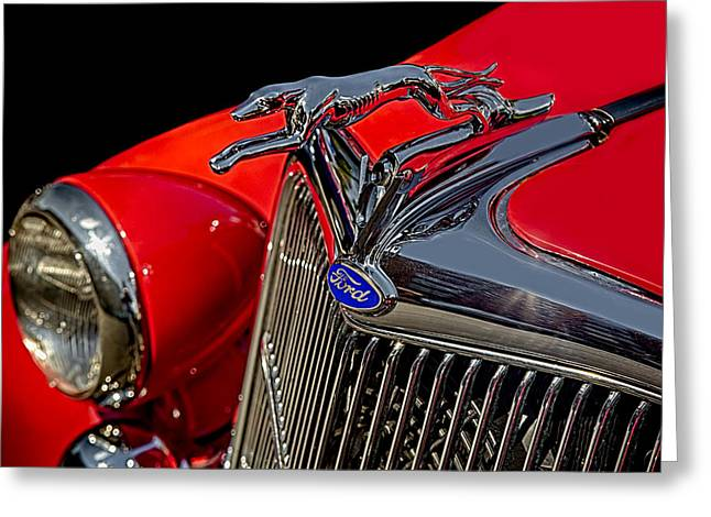 Timeless Greeting Cards - 1936 Ford Model 48 Emblem Greeting Card by Susan Candelario