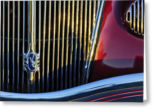 1936 Ford Phaeton V8 Grille Emblem Greeting Card by Jill Reger