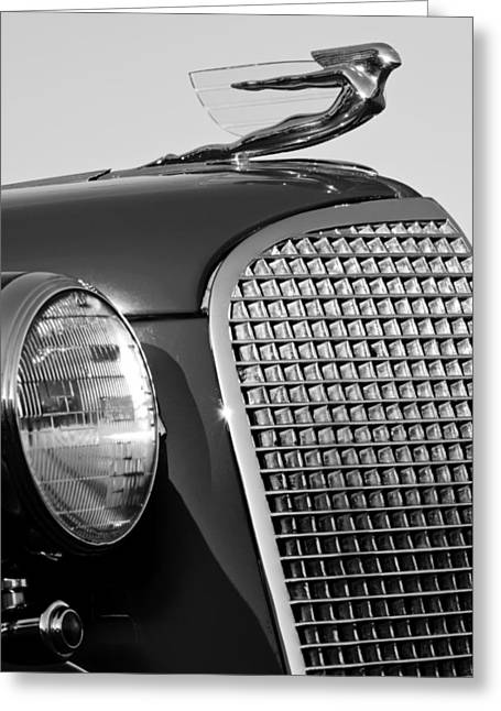 Collector Hood Ornament Greeting Cards - 1937 Cadillac V8 Hood Ornament 3 Greeting Card by Jill Reger
