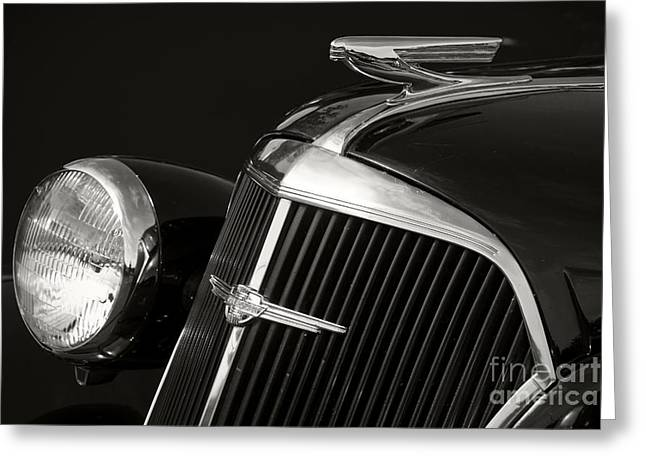 Chrome Emblem Greeting Cards - 1937 Chevy Greeting Card by Dennis Hedberg