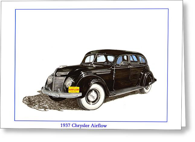 Transmission Drawings Greeting Cards - 1937 Chrysler Airflow  Greeting Card by Jack Pumphrey