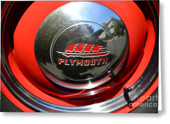 Hubcap Greeting Cards - 1937 Plymouth Hubcap Greeting Card by Paul Ward