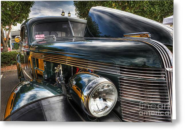 Travel Truck Greeting Cards - 1937 Pontiac Torpedo Indian Coupe  Greeting Card by Lee Dos Santos