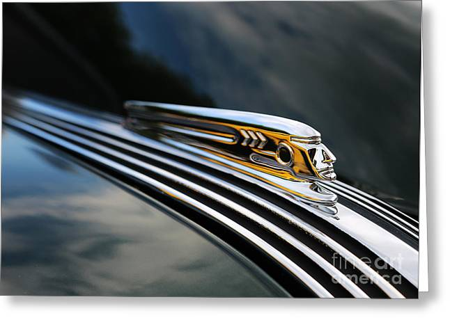 Travel Truck Greeting Cards - 1937 Pontiac Torpedo Indian Head Hood Ornament  II Greeting Card by Lee Dos Santos