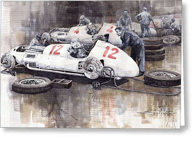 Mercedes Benz. Greeting Cards - 1938 Italian GP Mercedes Benz Team preparation in the paddock Greeting Card by Yuriy  Shevchuk