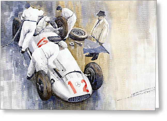 Watercolour Paintings Greeting Cards - 1939 German GP MB W154 Rudolf Caracciola winner Greeting Card by Yuriy  Shevchuk